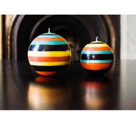 Striped ball Eco Candle in Honey Bird, Jet, Jasmine & Rust (Large or Small)